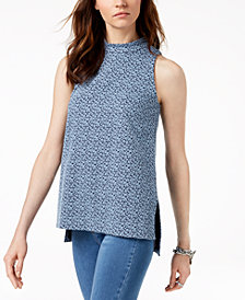 MICHAEL Michael Kors Printed High-Low Top in Regular & Petite Sizes