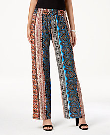 Be Bop Juniors' Boho Tapestry Wide-Leg Pants