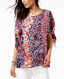 MICHAEL Michael Kors Printed Split-Sleeve Top in Regular & Petite Sizes