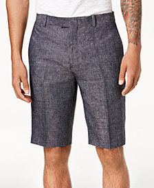 "I.N.C. Men's Textured Linen 10"" Shorts, Created for Macy's"