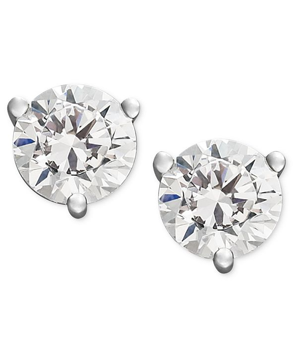 Macy's Certified Near Colorless Diamond Stud Earrings in 18k White Gold or Gold (1/4 ct. t.w.)