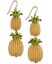 kate spade new york Gold-Tone Beaded Pineapple Double Drop Earrings