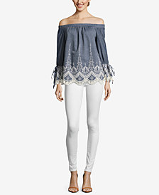 ECI Cotton Off-The-Shoulder Lace-Trim Top