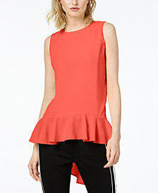 Bar III High-Low Peplum Top, Created for Macy's