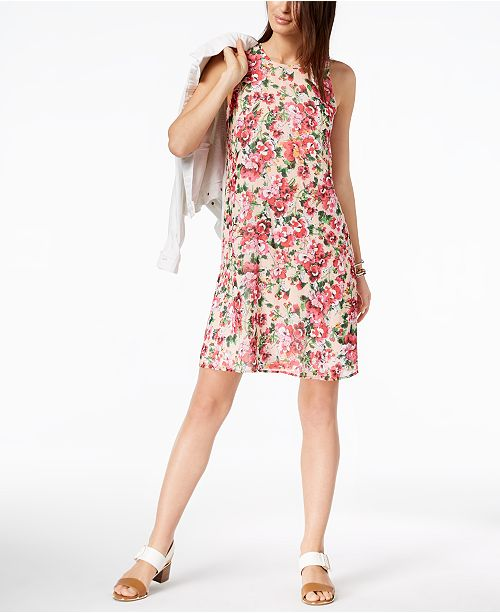 Tommy Hilfiger Floral-Print Chiffon Shift Dress