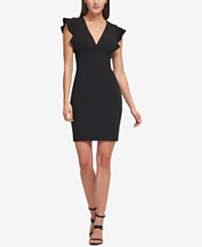 DKNY V-Neck Ruffle Cap Sleeve Sheath Dress