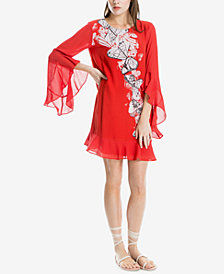 Max Studio London Angel-Sleeve Placed-Print Shift Dress, Created for Macy's
