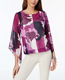 Alfani Petite Printed Angel-Sleeve Top, Created for Macy's