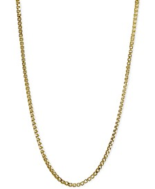 Adjustable Box Link Chain Necklace Collection in Sterling Silver, Created for Macy's
