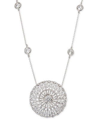 """Cubic Zirconia Baguette Disc 18"""" Pendant Necklace In Sterling Silver, Created For Macy's by Giani Bernini"""