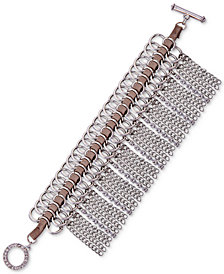 GUESS Silver-Tone Link & Woven Faux Suede Crystal Fringe Bracelet