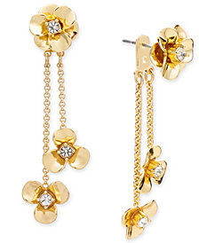 kate spade new york Gold-Tone Pavé Flower Ear Jacket Earrings