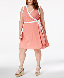 Tommy Hilfiger Plus Size Printed Sleeveless Wrap Dress, Created for Macy's