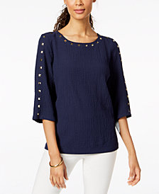JM Collection Petite Studded Textured Top, Created for Macy's