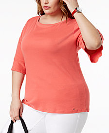 Tommy Hilfiger Plus Size Cotton Flared Elbow-Sleeve Top, Created for Macy's