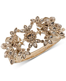 Givenchy Gold-Tone Crystal Openwork Bangle Bracelet
