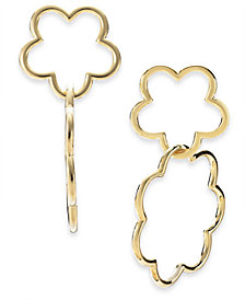 kate spade new york 14k Gold-Plated Scalloped Flower Interlocking Drop Earrings