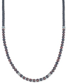 "Red Tiger's Eye (6mm) Braided Leather 30"" Necklace in Sterling Silver, Created for Macy's (Also Available in Onyx and Manufactured Turquoise)"