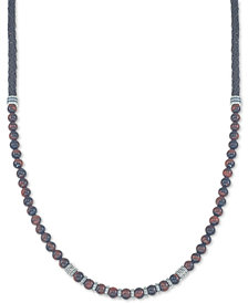 "Esquire Men's Jewelry Red Tiger's Eye (6mm) Braided Leather 30"" Necklace in Sterling Silver, Created for Macy's (Also Available in Onyx and Manufactured Turquoise)"
