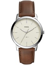 b0b06edf29f6 Fossil Men s Minimalist Brown Leather Strap Watch 44mm