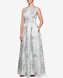 Alex Evenings Metallic Jacquard A-Line Gown