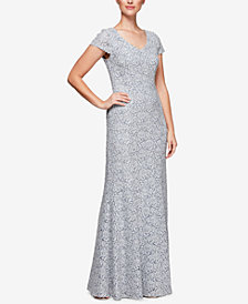 Alex Evenings Corded Floral Lace Gown