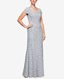 Alex Evenings Petite Lace Cap-Sleeve Gown