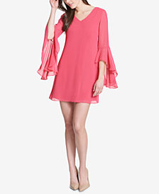 kensie Bell-Sleeve Lattice-Back Shift Dress
