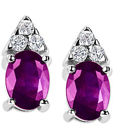 Pink Sapphire (2 ct. t.w.) & Diamond (1/5 ct. t.w.) Stud Earrings in 14k White Gold