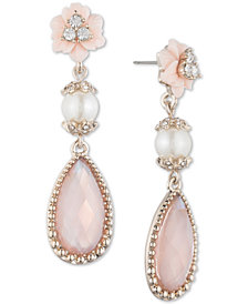 Marchesa Gold-Tone Stone, Imitation Pearl and Pavé Drop Earrings