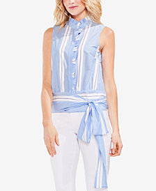 Vince Camuto Cotton Sleeveless Tie-Hem Shirt