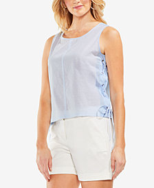 Vince Camuto Cotton Lace-Up Top