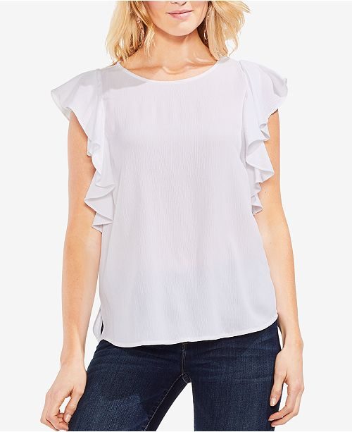 Camuto White Ruffle Sleeve Top Boat Ultra Vince Neck Rnq1wdxR0