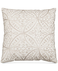 "Hallmart Collectibles Beige Embroidered 20"" Square Decorative Pillow"