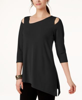 Alfani Petite Asymmetrical Cold-Shoulder Top Created for Macys