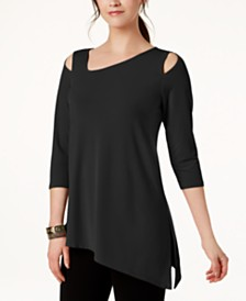Alfani Cold-Shoulder Asymmetrical Top, Created for Macy's