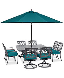 "CLOSEOUT! Glenwood Outdoor 9-Pc. Dining Set (64"" X 64"" Dining Table, 4 Dining Chairs & 4 Swivel Rockers) with Sunbrella® Cushions, Created for Macy's"