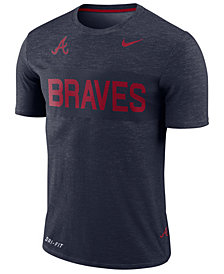 Nike Men's Atlanta Braves Dri-Fit Slub Stripe T-Shirt