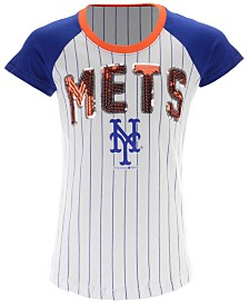 5th & Ocean New York Mets Sequin Pinstripe T-Shirt, Girls (4-16)