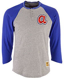 Mitchell & Ness Men's Atlanta Braves 4-Button Henley T-Shirt