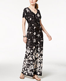 Style & Co Printed Drawstring Maxi Dress, Created for Macy's