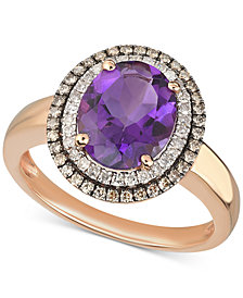 Amethyst (2-1/3 ct. t.w.) & Diamond (1/3 ct. t.w.) Ring in 14k Rose Gold