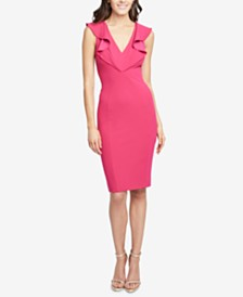 RACHEL Rachel Roy Ruffled V-Neck Sheath Dress