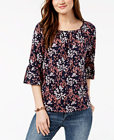 MICHAEL Michael Kors Petite Scattered Blooms Printed Top
