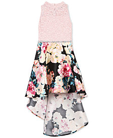 Speechless Big Girls Glitter Lace Floral-Print Dress