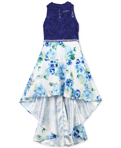 Speechless Big Girls Glitter Lace Floral-Print Dress