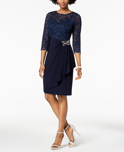 Alex Evenings Embellished Lace-Contrast Dress