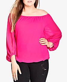 City Chic Trendy Plus Size Off-The-Shoulder Peasant Top