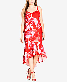 City Chic Trendy Plus Size Ruffle-Hem Midi Dress