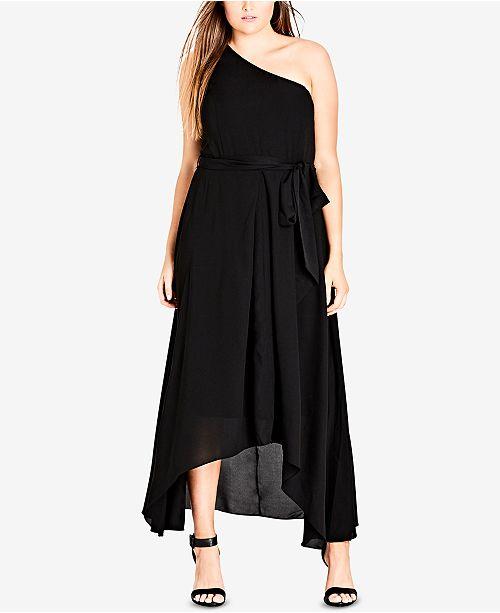 City Chic Trendy Plus Size Cotton One-Shoulder Maxi Dress & Reviews ...